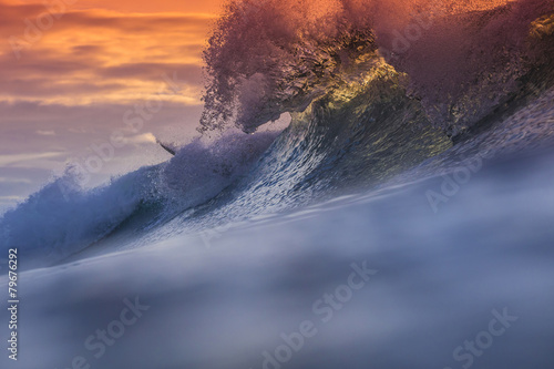 Tuinposter Water Colored Ocean Wave