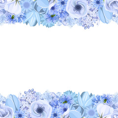 Horizontal seamless background with blue flowers. Vector.