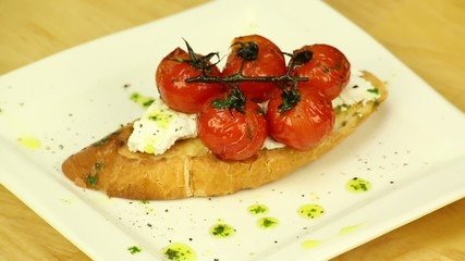 Sandwich with cherry tomatoes and feta cheese