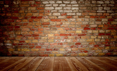 Conceptual old vintage brick wall and wood floor