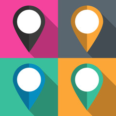 A set of pointers to the map on different backgrounds vector