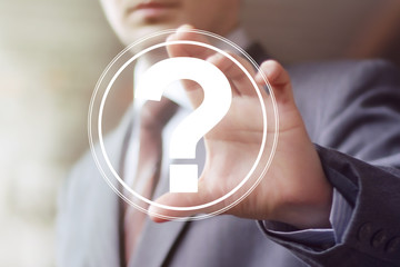 Businessman touch button interface question icon web