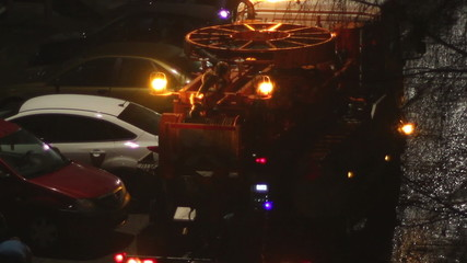 Night Sewage Truck Intervention