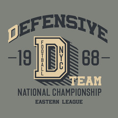 Defensive football team t-shirt design