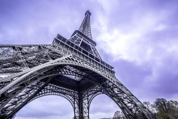 Eiffel Tower scenic bottom view. Purple sky