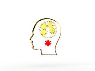 Image of gears inside of a man's head