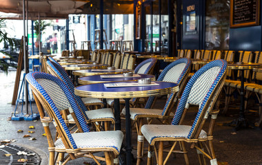 Paris. Street view, Bistro cafe with tables and chairs