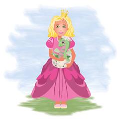 Little princess and dragon, vector illustration