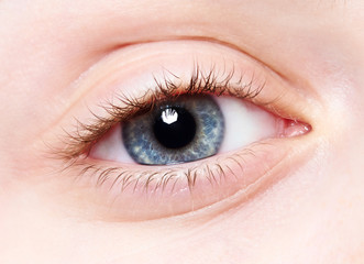 close-up child eye
