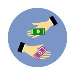 Hand giving money dollar to money yen
