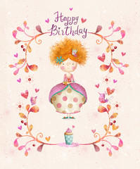 Little Princess.Birthday greeting card.Party invitation.