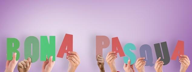 Composite image of hands holding up bona pasqua