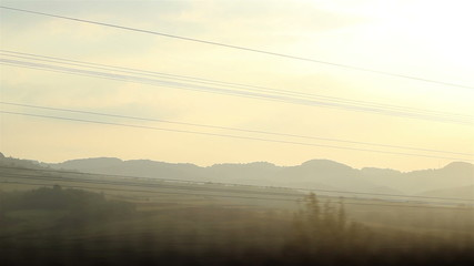 Sun Lanscape from Speed Train