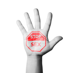 Open Hand Raised, Stop Sex Sign Painted