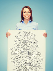 smiling businesswoman with plan in white board