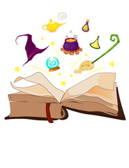 witch's stuff floating on the magic book