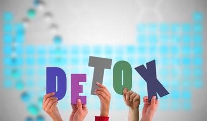 Composite image of hands holding up detox