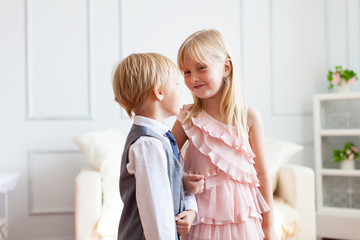 Boy is speaking to girl