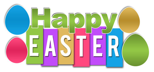 Happy Easter Colorful Stripes