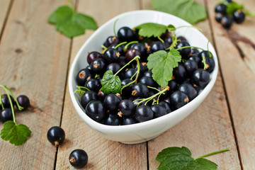 Black currant berries in a white bowl