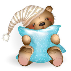 Happy Teddy Bear hugging a pillow 3