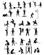 Playing children silhouettes set - 79685440