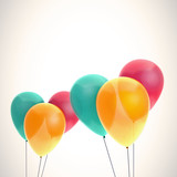 Color balloons on light background
