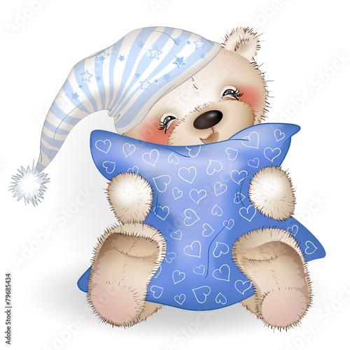 Happy Teddy Bear hugging a pillow 4 - 79685434