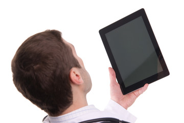 Top view of medical doctor hand holding tablet pc with empty scr