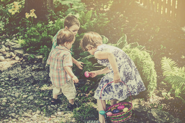 Children on an Easter Egg Hunt - Retro Filtered