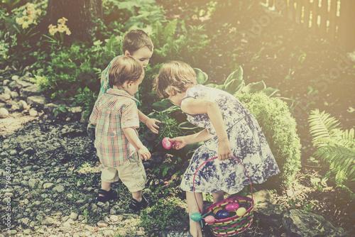 Children on an Easter Egg Hunt - Retro Filtered - 79686050