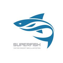 Super fish - vector logo concept illustration. Fish logo.