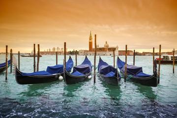 Gondolas with view of San Giorgio Maggiore