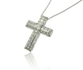 Diamonds Cross necklace on white background