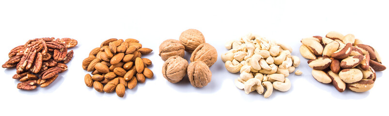 Mix culinary nuts over white background