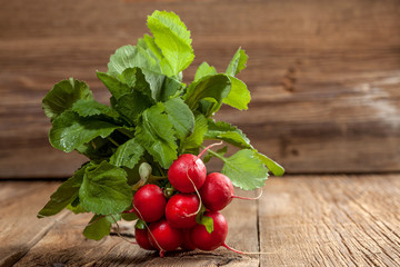 A bunch of radishes.