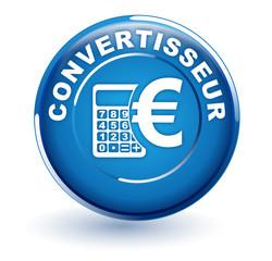 convertisseur devises euro sur bouton bleu