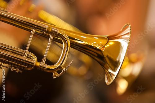 Fotobehang Muziekwinkel Fragment trumpet closeup