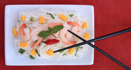 Rice vermicelli, shrimp, mango, green onions and mint