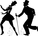 Tap dancers in top hats silhouette