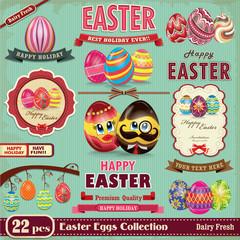 Vintage Easter egg design element set