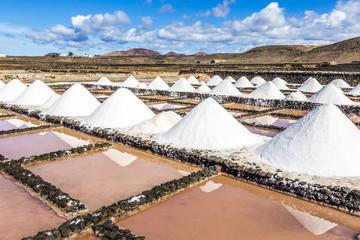 salt piles in the saline of Janubio in Lanzarote
