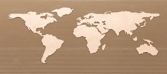 World map made of fiberboard.