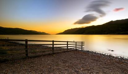 Loch Ness scottish sunrise   Highlands Scotland UK