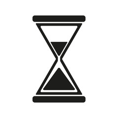 The hourglass icon. Clock symbol. Flat