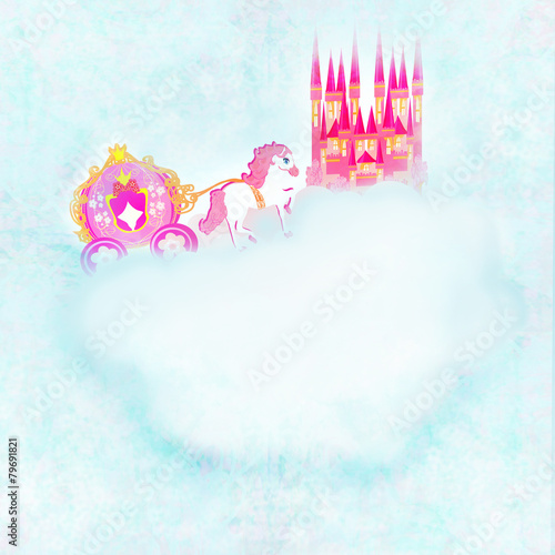 Poster Pony beautiful fairytale pink castle in the clouds