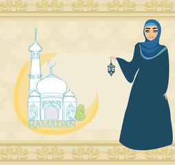 beautiful muslim women on mosque background.