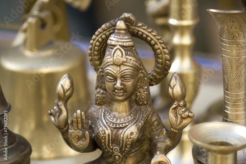Leinwanddruck Bild Closeup to Lakshmi Statue