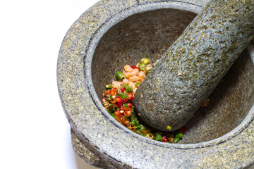 stone mortar and pestle, thai cooking tool
