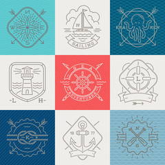 Nautical, adventures and travel emblems signs and labels